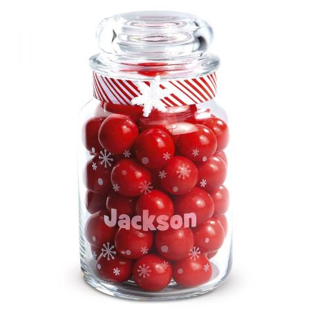 Snowflake Personalized Treat Jar Each includes airtight lid. Dishwasher safe; 7  tall. Treats not included. Specify name up to 12 characters