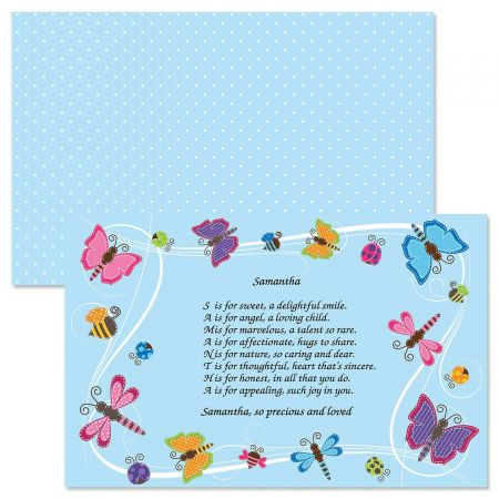 Butterflies Name Poem Kids' Placemats