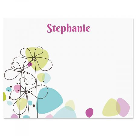 Sketched Flowers Correspondence Cards