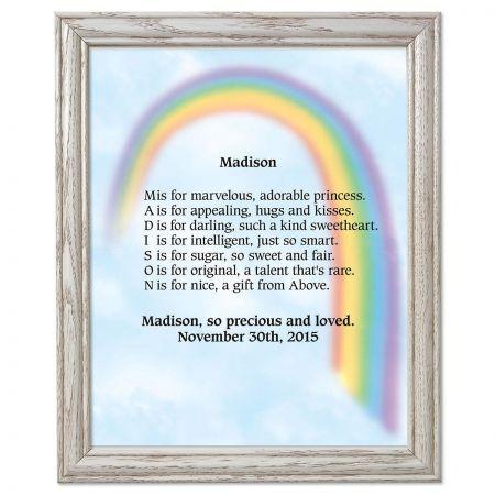 Rainbow Framed Name Poem Print