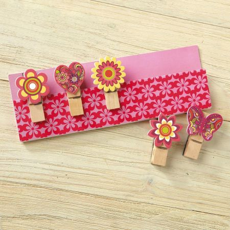 Clothespin Magnets on a Decorative Card