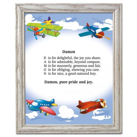 Airplane Name Poem Framed Print