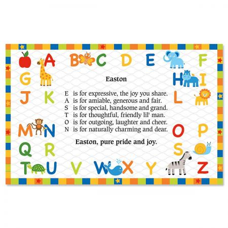 alphabet name poem kids placemats current catalog
