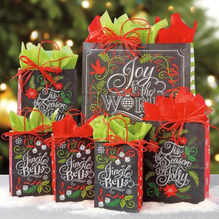 Christmas Gift Bags.Joy To The World Gift Bag Set