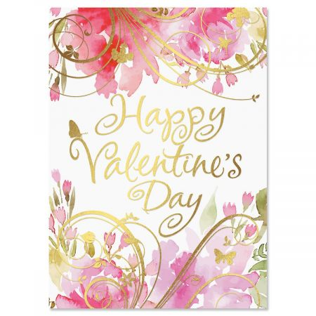 Pink Blossoms Deluxe Valentine Cards