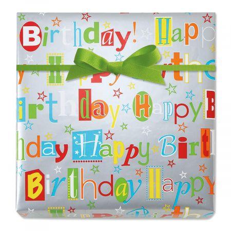 Happy Birthday Wishes Jumbo Rolled Gift Wrap
