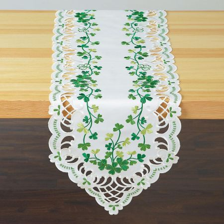 Irish Shamrocks Cutwork Table Runner