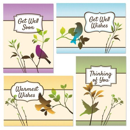 Soft Foliage Get Well Cards and Seals