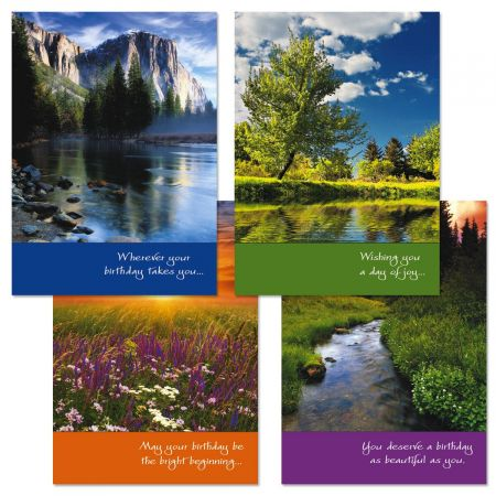 Photo Landscape Birthday Cards and Seals