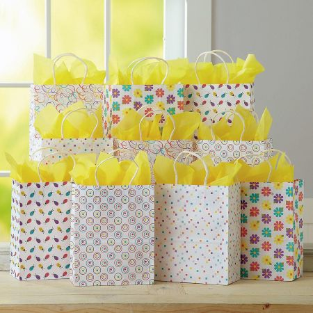 Kraft Spring Patterns Gift Bags