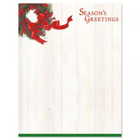 Wreath and Ribbon Christmas Letter Papers