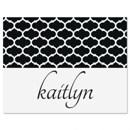 Quatrefoil Script Personalized Note Cards