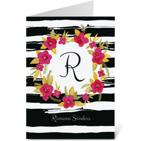 Vivid Wreath Personalized Note Cards
