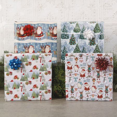 Christmas Chums Jumbo Rolled Gift Wrap and Labels
