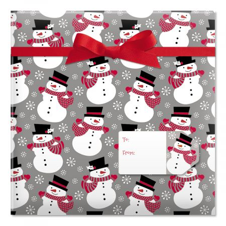 Smiling Snowmen Jumbo Rolled Gift Wrap and Labels