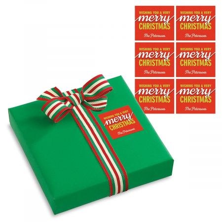 Merry Christmas Personalized To/From Tags Big self-stick 3-1/2  x 4  labels brighten gift packages! Set of 18 Specify name up to 24 characters.