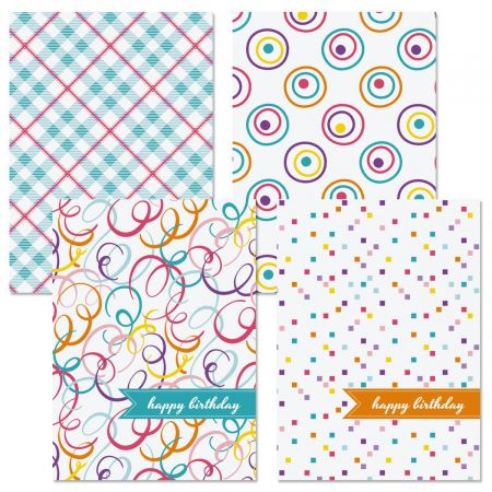 Colorful Spring Patterns Birthday Cards