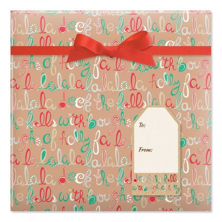 Deck the Halls Jumbo Rolled Gift Wrap and Labels