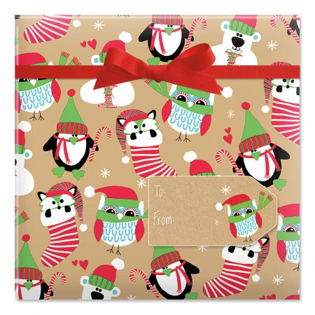 Owls and Fox on Kraft Jumbo Rolled Gift Wrap