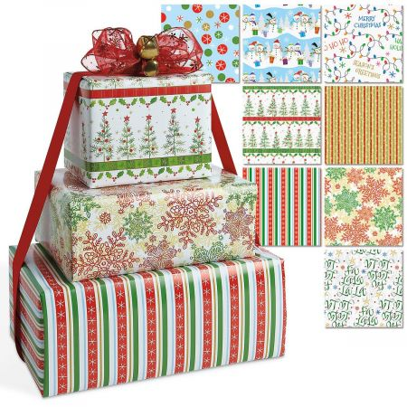 Christmas Designs Flat Gift Wrap Value Pack