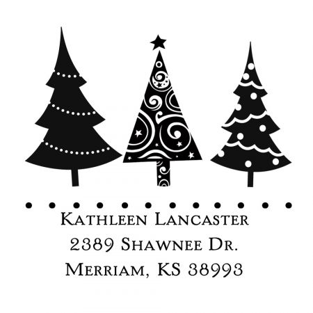 Christmas Trees Square Self-Inking Address Stamp