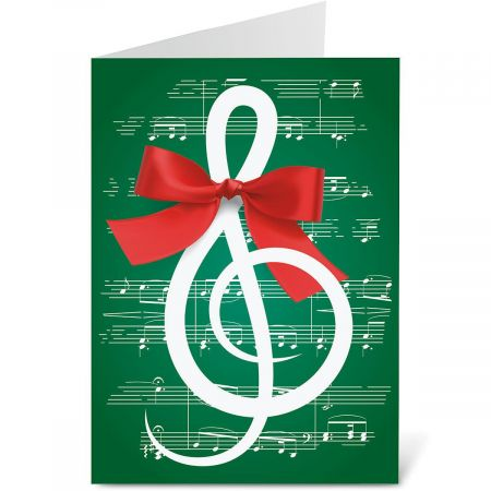 Merry Melody Personalized Christmas Cards - Set of 18