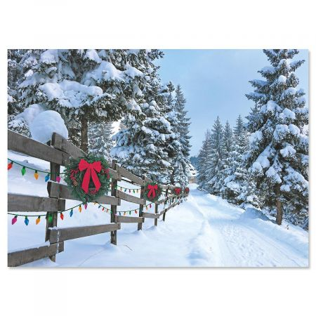Forest Lane Personalized Christmas Cards - Set of 72