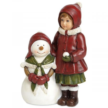 Red and Green Resin Girl with Snowman Figurine