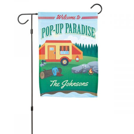 Pop-Up Camper Paradise Personalized Garden Flag