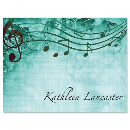 Sheet Music Aqua Correspondence Cards