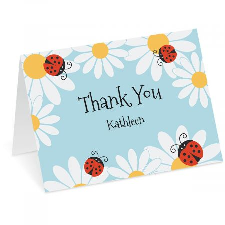Ladybug Daisy Personalized Thank You Note Cards