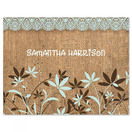 Burlap Personalized Note Cards