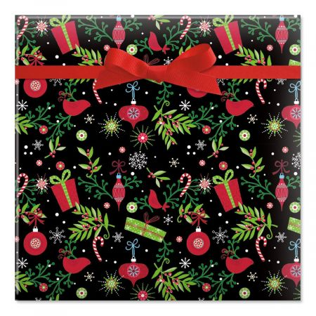 Festive Holiday on Black Jumbo Rolled Gift Wrap