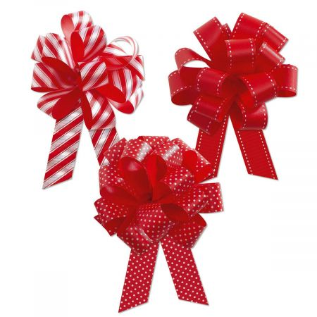 Deluxe Red and White Pull Bows