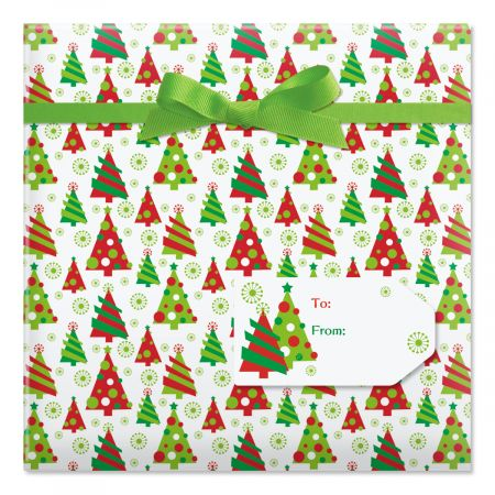 Graphic Christmas Tree Jumbo Rolled Gift Wrap and Labels