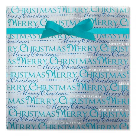 Shades of Blue Foil Rolled Gift Wrap