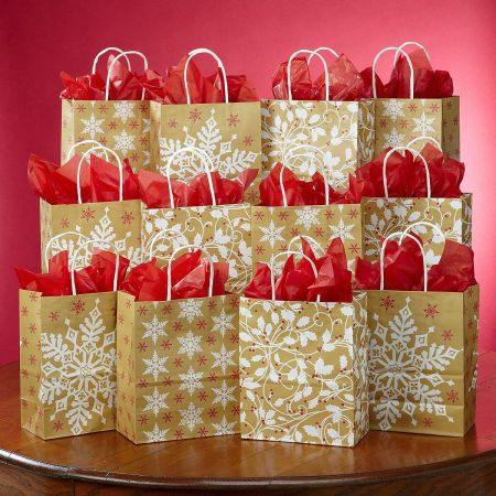 Snowflakes & Holly Kraft Gift Bags
