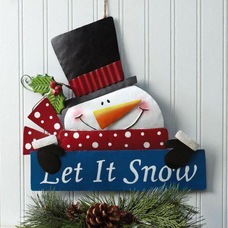 Let it Snow Snowman Festive Metal Sign