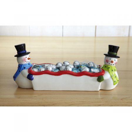 Snowmen Ceramic Candy Dish