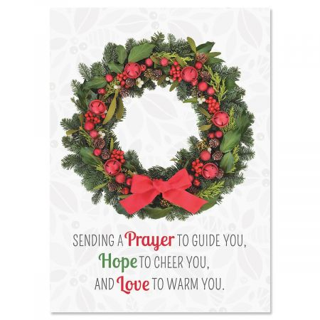 Photo Wreath Religious Christmas Cards