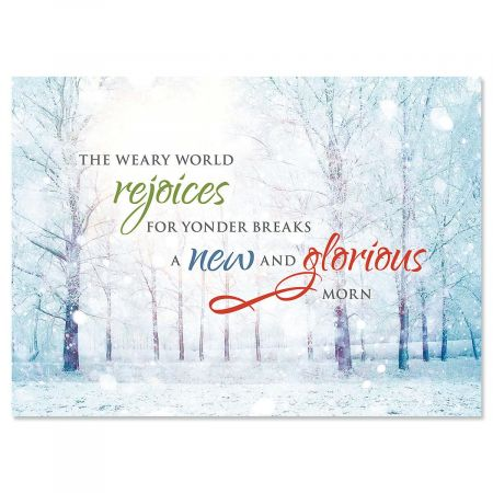 Winter Forest Personalized Christmas Cards - Set of 72