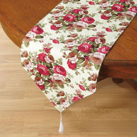 Colorful Roses Burlap Table Runner