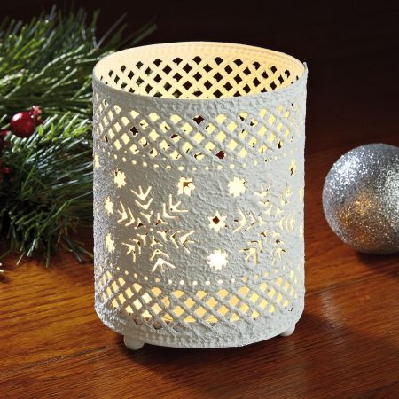 White Snowflakes Metal Candle Holder