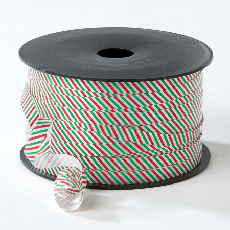 Red & Green Stripes Christmas Curling Ribbon