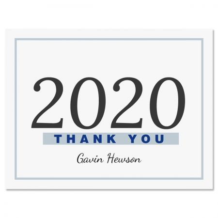 Blue Border Graduation Personalized Thank You Note Cards