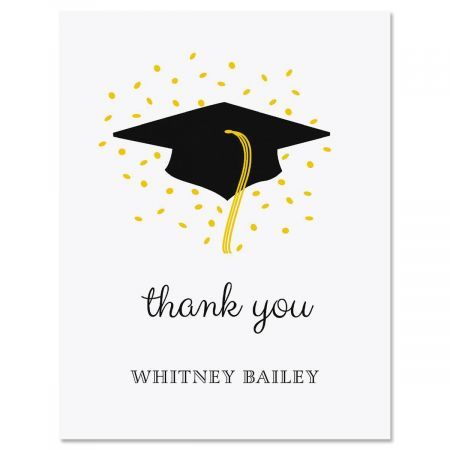 confetti and cap graduation personalized thank you cards - Graduation Thank You Cards