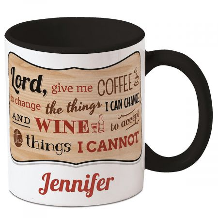 Coffee Wine Personalized Mug Serenity prayer is full of praise for two favorite and (sometimes) helpful beverages. Ceramic 11-oz. mug is microwave/dishwasher safe, but hand washing is preferable to maintain depth of design colors. 4  tall. Specify name up to 12 characters.