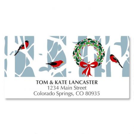 Aspens with Wreath Deluxe Address Labels