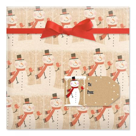 Snowmen Friendly Chat Jumbo Rolled Gift Wrap