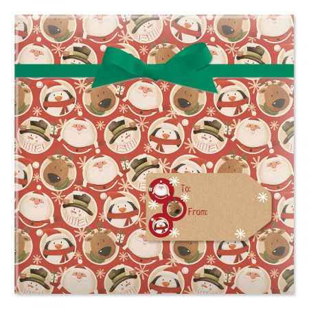 Mixed Folk Characters Jumbo Rolled Gift Wrap and Labels